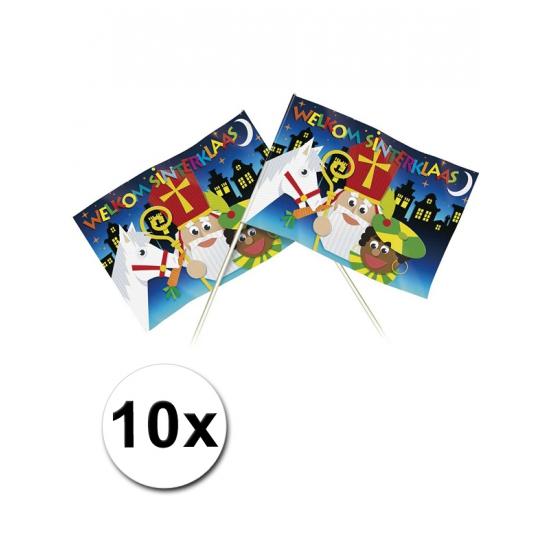 10 Welkom Sinterklaas thema zwaaivlaggetjes 20 x 30 cm thumbnail