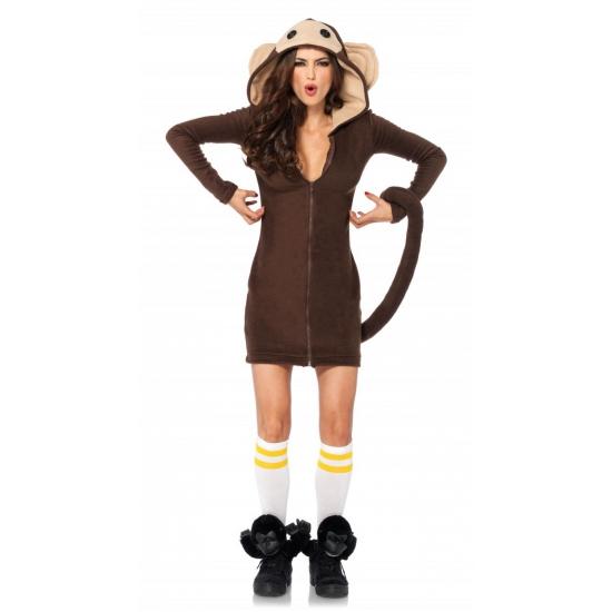 Apen pakje voor dames. luxe apen fleece jurkje met aan de voorzijde een rits, aan de achterkant een banaan ...