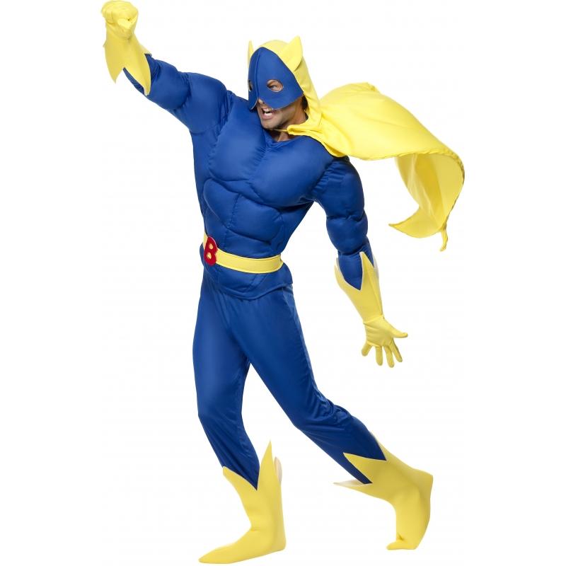 Bananaman kostuum voor volwassenen. bestaat uit jumpsuit, cape inclusief masker, handschoenen en boot covers. ...