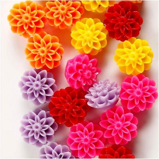 Bloemen kralen 20 stuks. zakje met bloemen kralen 20 stuks. assortiment van verschillende kleuren. formaat: ...