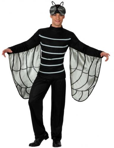 Zwarte vlieg kostuum met vleugels. vliegen kostuum voor volwassenen, bestaande uit een zwart kostuum met ...
