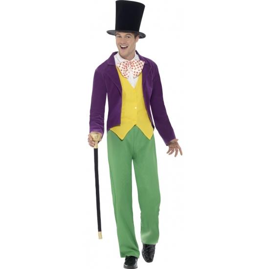 Willy wonka kostuum voor heren. dit complete willy wonka kostuum bestaat uit het jasje met vest, broek, hoed ...