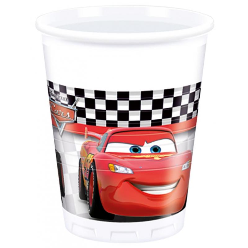 Cars feest bekers 8 stuks. deze plastic bekers met plaatjes uit de bekende disney film: cars. inhoud 200 ml ...
