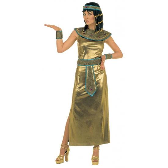 Cleopatra jurk. lange jurk in de kleur goud bestaande uit een jurk, kraag, riem met edelstenen, polsbandje en ...