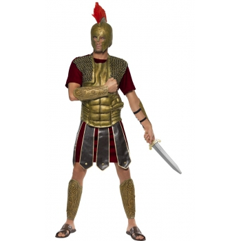 Perseus gladiator kostuum voor heren. dit romeinse kostuum bestaat uit de tuniek, borststuk en de arm en been ...