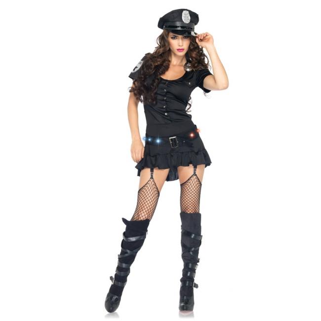 Sexy sergeant kostuum voor dames. luxe agente kostuum voor dames bestaande uit een jarretel jurk, badge, riem ...