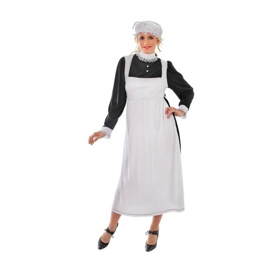 Dienstmeisje kostuum met mutsje. zwarte dienstmeisjes jurk met daarover een lang wit schort en een bijpassend ...