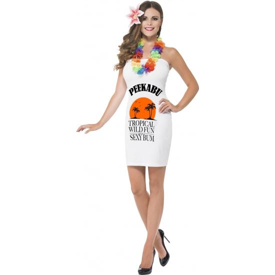 Wit dames jurkje peekabu. sexy wit strapless dames jurkje met drank label en de tekst: peekabu. dit witte ...
