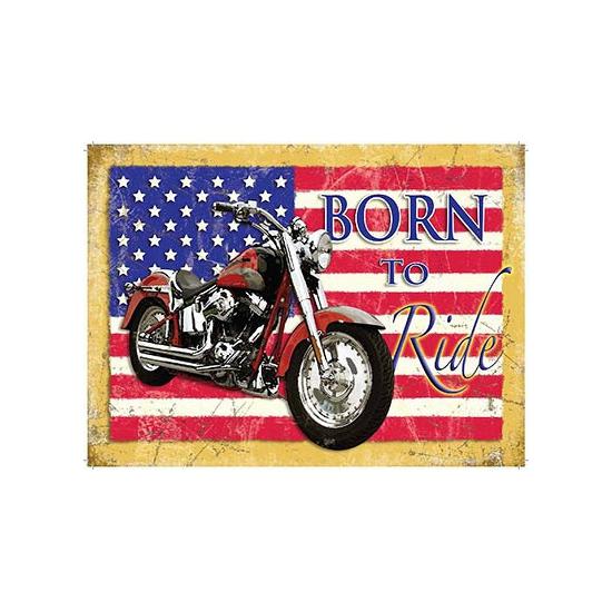 ... nostalgische afbeelding met de tekst: Born to Ride. De wanddecoratie