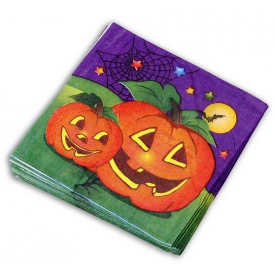 Halloween servetten pompoen 20 stuks. deze papieren halloween servetten met plaatjes van pompoenen zijn ...