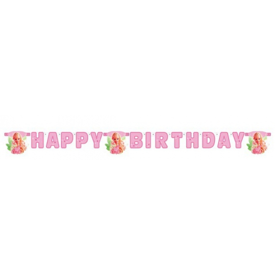 Barbie letterslinger 2,15 meter. letterslinger van karton met plaatjes van barbie en de tekst happy birthday ...