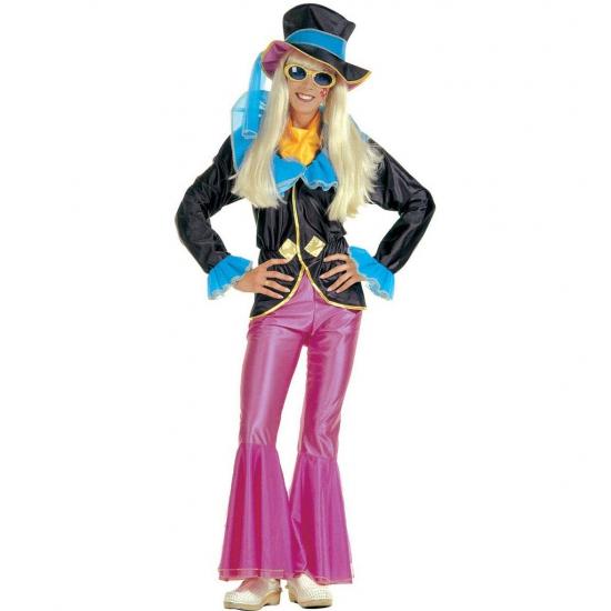 Hippie outfit voor vrouwen. deze hippie outfit voor vrouwen bevat een roze broek, een zwart jasje met blauwe ...