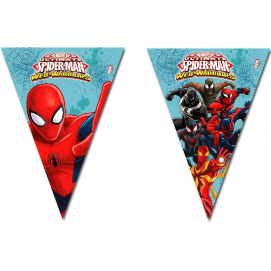 Spiderman warriors vlaggenlijn. deze feestelijke plastic vlaggenlijn met plaatjes van spiderman heeft een ...