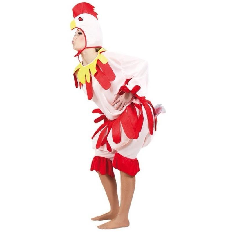 Kip kostuum voor volwassenen. kippenpak dat bestaat uit een jumpsuit met kippenmutsje. materiaal: 100% ...