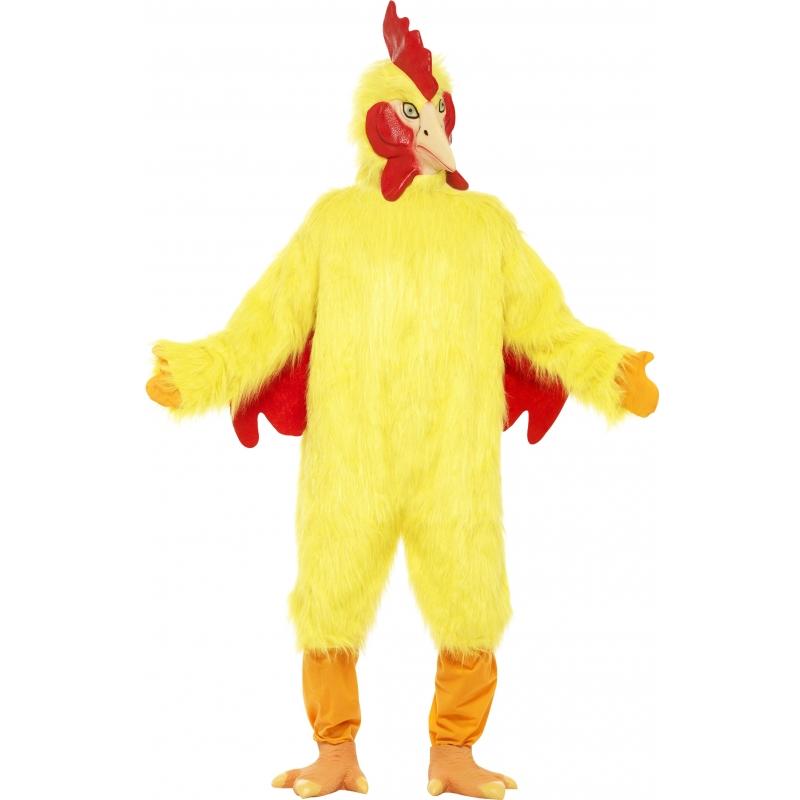 Gele pluche kip kostuum voor volwassenen. dit gele pluche kip kostuum is een one size model.