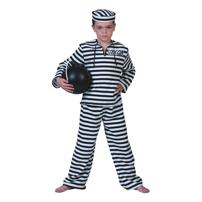 Zwart met wit gestreept boeven pak voor kinderen. dit gestreepte boeven pak is inclusief boeven petje. boeven ...