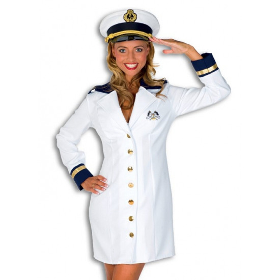 Luxe kapiteins jurkje voor dames. mooi kapitein kostuum voor dames bestaande uit een wit jurkje met gouden ...