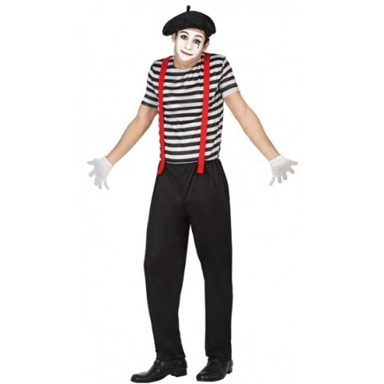 Mime clowns heren kostuum. 3 delig mime kostuum voor heren dat bestaat uit de broek, het shirt en het hoedje. ...