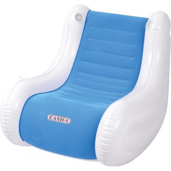 Opblaasbare blauwe stoel met speaker thumbnail
