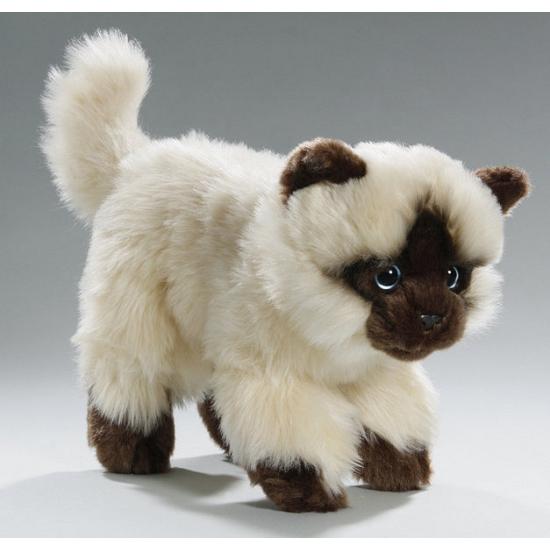 Pluche zittende perzische colourpoint katten knuffel van circa 22 cm.