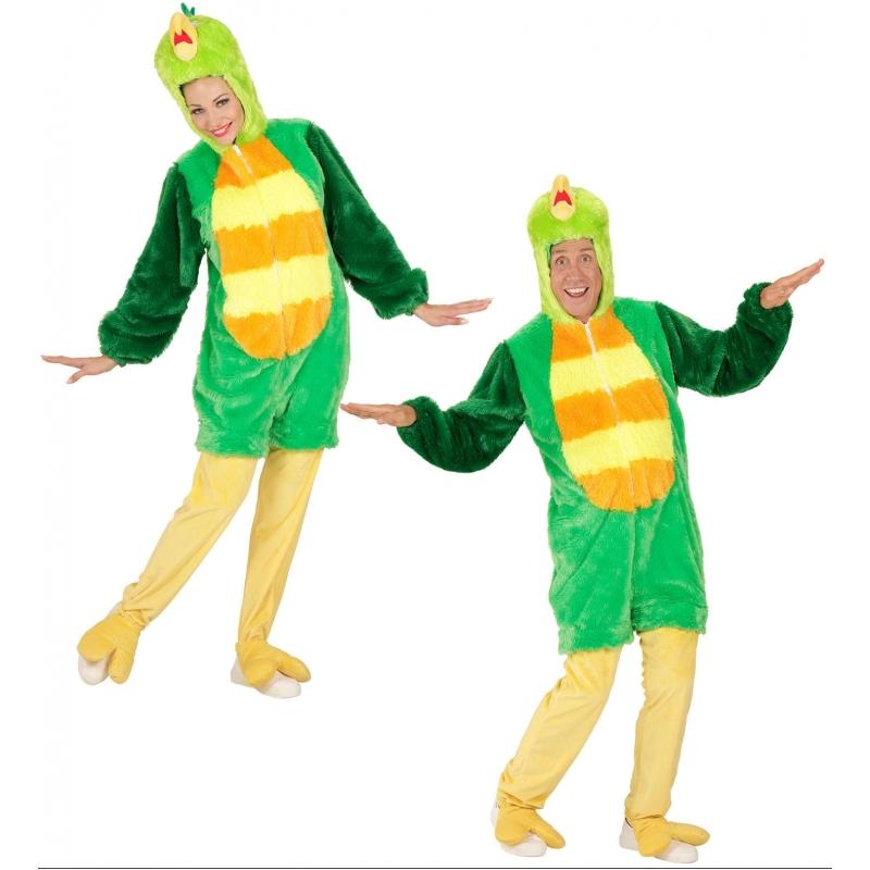Pluche groene vogel kostuum voor volwassenen. luxe verkleedkostuum van een groene vogel. het pak is 1 geheel ...