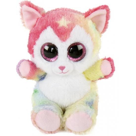 Pluche katten knuffel fluppy. leuke gekleurde katten knuffel met grote schattige ogen. de knuffel is ongeveer ...