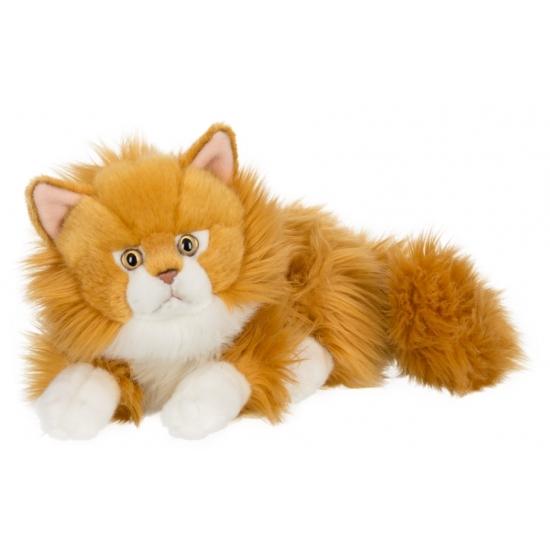 Pluche liggende rode kat 25 cm. deze pluche liggende kat knuffel heeft een lengte van 25 cm en is van het ...