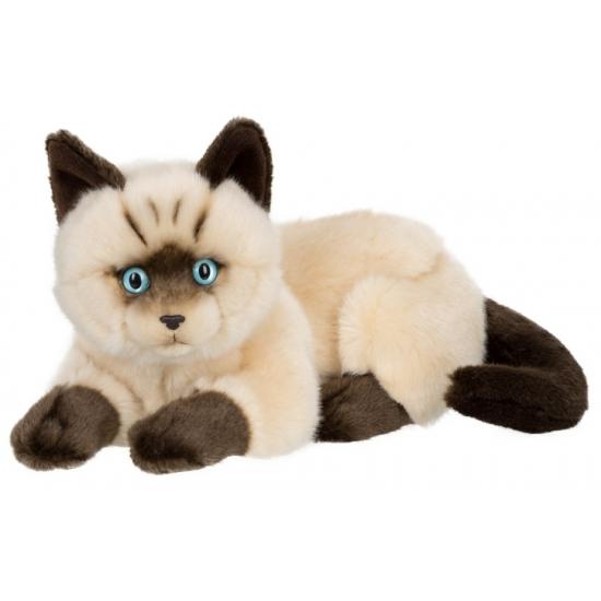 Pluche liggende siamese kat 25 cm. deze pluche liggende kat knuffel heeft een lengte van 25 cm en is van het ...