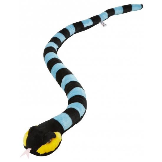 Speelgoed pluche slang zwart/blauw