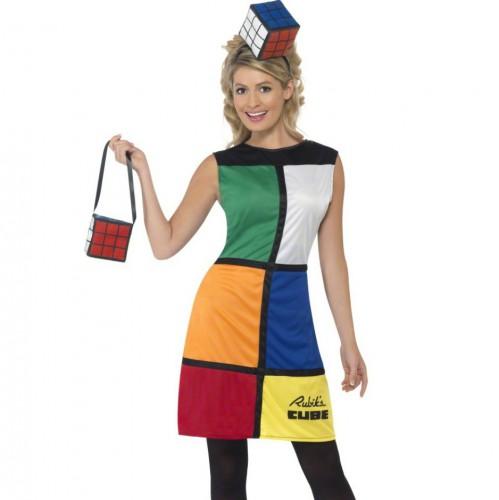 Rubiks kubus jurk voor dames. deze unieke rubiks kubus jurk wordt geleverd met bijpassend tasje en hoofdband. ...