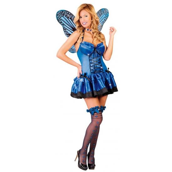 Blauw vlinder kostuum voor dames. blauw vlinder jurkje voor dames, inclusief vleugels. one size, valt ...