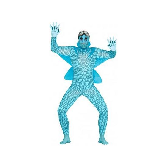 Zee monster kostuum voor heren. deze blauwe jumpsuit bestaat uit een vissen pak en masker. one size model: (l ...