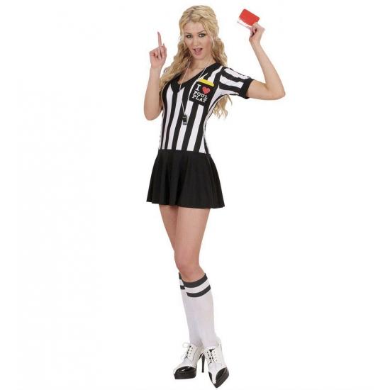 Scheidsrechter kostuum voor dames. leuk scheidsrechter pakje voor dames, met zwart wit shirt en een zwart ...