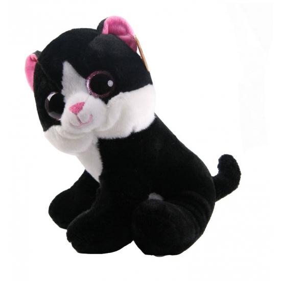 Pluche zwarte kat 25 cm. zachte zwarte knuffel kat met grote kraalogen. de knuffel is ongeveer 25 cm groot....