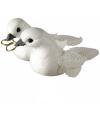 Bruiloft decoratie witte duiven met pailletten 5,5 cm