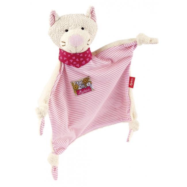 Tutteldoekje roze katje 26 cm. speciaal voor de kleintjes, een zacht pluche tutteldoekje van het merk sigikid ...