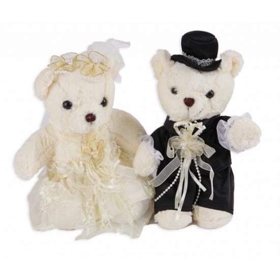 Beren bruidspaar knuffels 22 cm