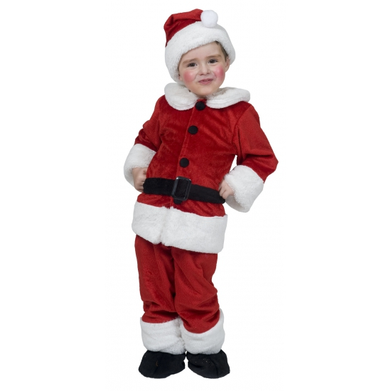 Kerstman pakje voor peuters. rood peuter kerst pakje bestaande uit het jasje met riem, broek, schoenen en ...