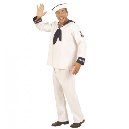 Wit matrozen kostuum met blauwe afwerking aan de kraag en polsen en embleem op de bovenarm dat lijkt op de ...