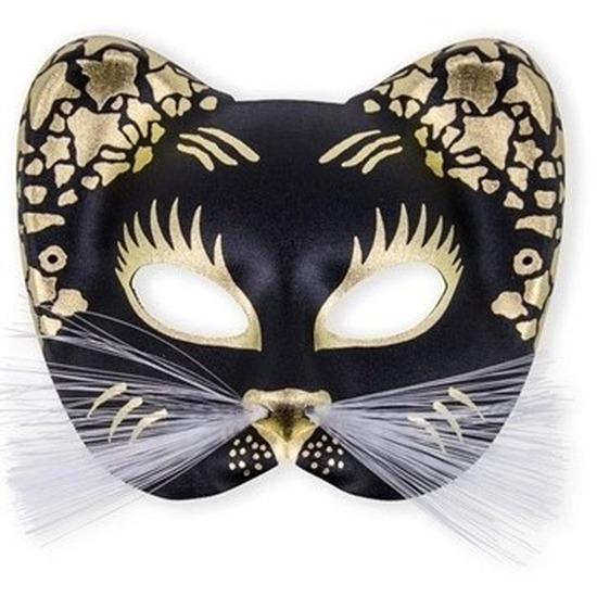 Oogmasker zwarte kat met goud. stevig katten oogmasker met gouden details. door middel van het elastiek om ...