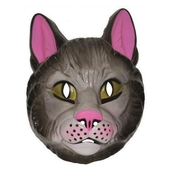 Plastic katten masker voor volwassenen. katten masker met aan de achterkant een elastiek waardoor het masker ...