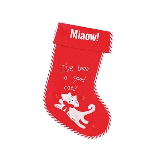 Kerstsok miaow! voor katten. rode vilten kerstsok, speciaal voor uw kat! de sok heeft geen lusje. one size, ...