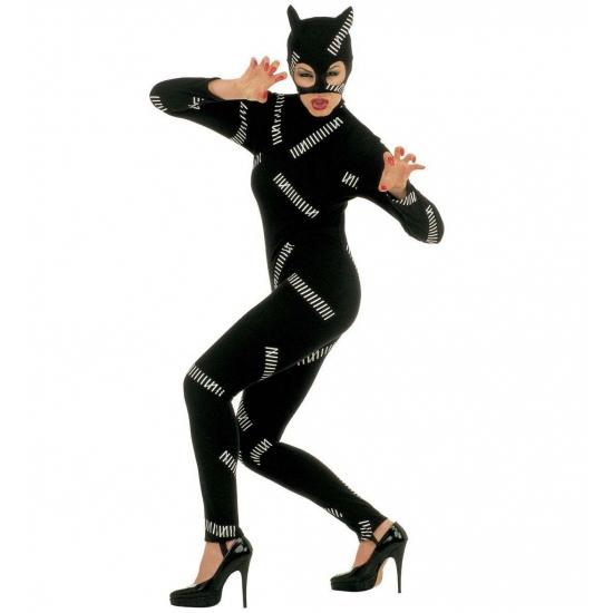 Catgirl/catwoman kostuum. dit catgirl kostuum is zwart met zilveren glitter strepen. over het hoofd gaat een ...