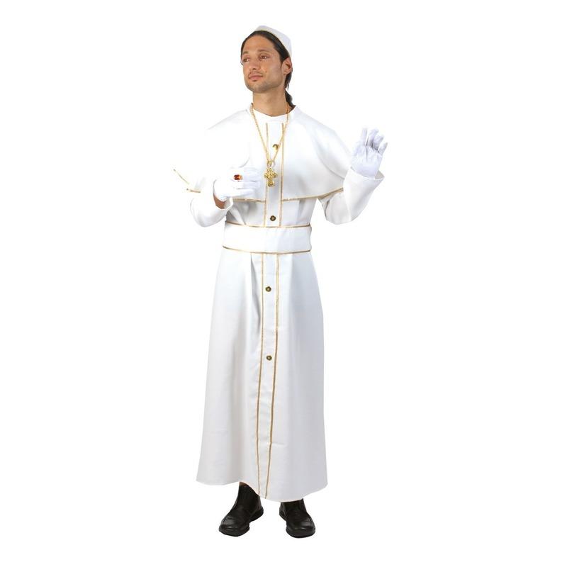 Wit paus kostuum voor volwassenen. wit paus kostuum met solideo of pileolus (hoedje van de kardinaal)....