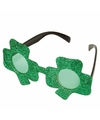 Klavertje drie bril groen glitter