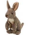 Kangoeroe knuffel met kraaloogjes 20 cm