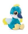 Blauwe kraanvogel knuffel 20 cm met grote ogen