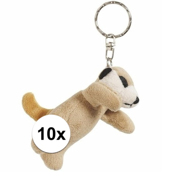 10x Stokstaartjes knuffel sleutelhangers 6 cm