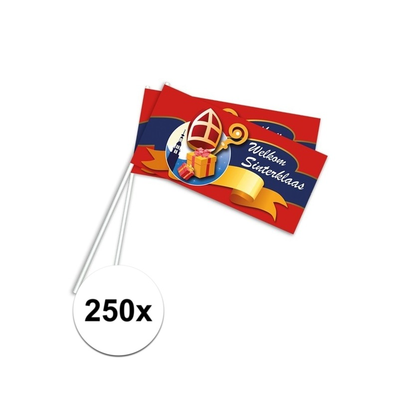 250x Rood Welkom Sinterklaas zwaaivlaggetjes 38 cm