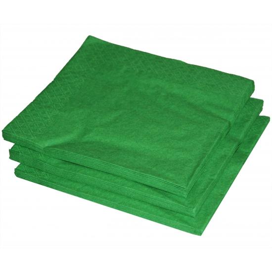25x stuks groene servetten 33 x 33 cm